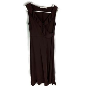 diane von furstenberg cookie brown Surplice dress